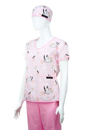 Bluza compleu - Berze cu bebelusi roz2