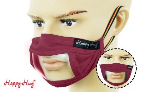 Mască Textilă cu Insert Transparent - Bordeaux0