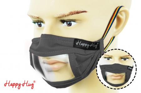 Mască Textilă cu Insert Transparent - Gri0