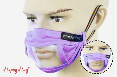 Mască Textilă cu Insert Transparent – Lila0