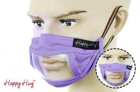 Mască Textilă cu Insert Transparent - Mov0