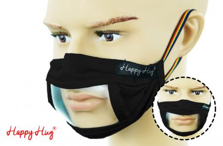 Mască Textilă cu Insert Transparent – Negru0