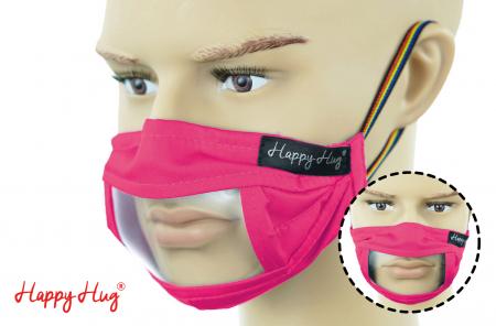 Mască Textilă cu Insert Transparent – Roz ciclam0