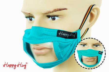 Mască Textilă cu Insert Transparent – Turcoaz0