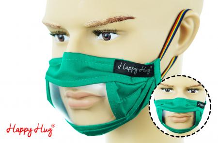 Mască Textilă cu Insert Transparent – Verde