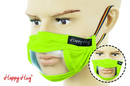 Mască Textilă cu Insert Transparent – Verde Praz0