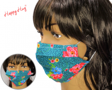 Mască Textilă cu Pliuri - Flori Animal Print  [0]