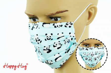 Mască Textilă cu Pliuri - Panda Bleu0