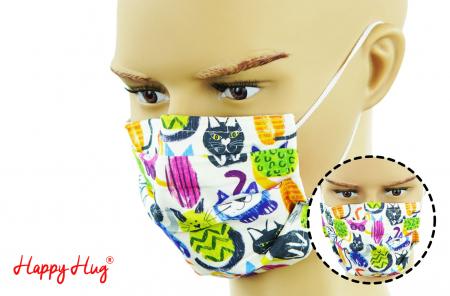 Mască Textilă cu Pliuri - Pisici ciclam0