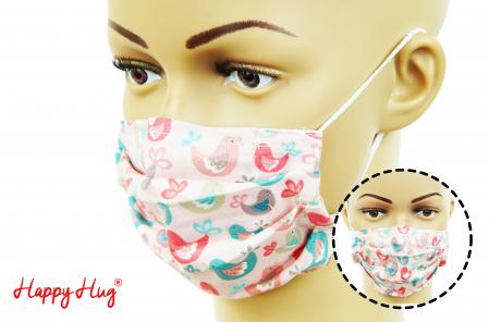 Mască Textilă cu Pliuri - Păsări Roz [0]