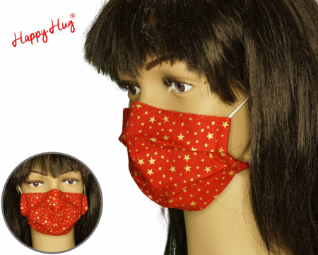 Mască Textilă cu Pliuri - Rosie cu stelute aurii0