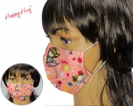 Mască Textilă cu Pliuri - Zane cu flori0