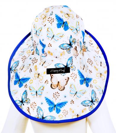 Pălărie de Soare - Fluturi Crem & Albaștri [4]