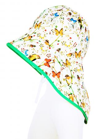 Pălărie de Soare - Păsări & Fluturi (alb)1