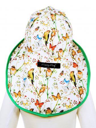 Pălărie de Soare - Păsări & Fluturi (alb)4