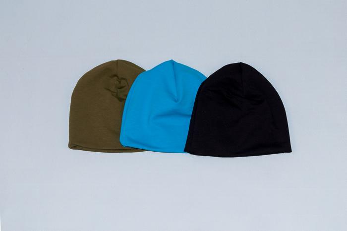 Caciulita Bumbac Simpla - Set 3Buc - Kaki, Albastru, Negru 0