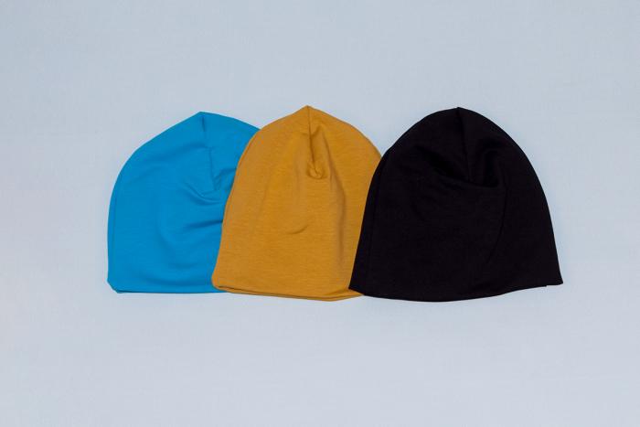 Caciulita Bumbac Simpla - Set 3Buc - Albastru, Mustar, Negru [0]