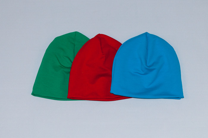 Caciulita Bumbac Simpla - Set 3Buc - Verde, Rosu, Albastru 0