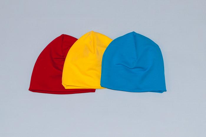 Caciulita Bumbac Simpla - Set 3Buc - Rosu, Galben, Albastru 0