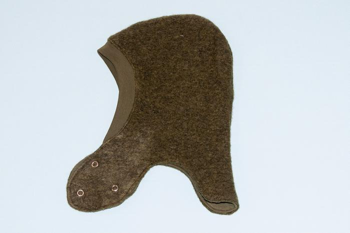 Cagulă dublată fleece lână fiartă - capse - Dark Green 1
