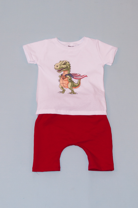 Compleu Tricou Alb cu Pantalon Baggy Rosu Dragon 0