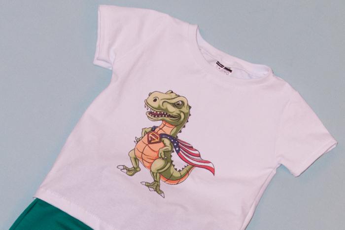 Compleu Tricou Alb cu Pantalon Baggy Verde Dragon 1