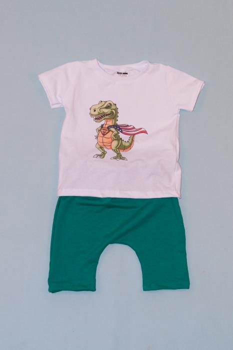Compleu Tricou Alb cu Pantalon Baggy Verde Dragon 0