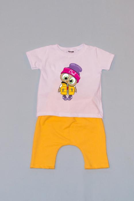 Compleu Tricou Alb cu Pantalon Baggy Galben Cool 0