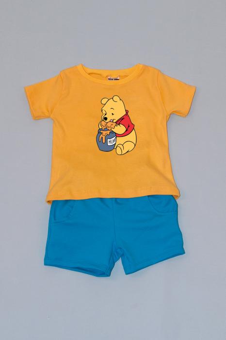 Compleu Tricou Galben cu Pantalon Scurt Albastru Ursulet 0