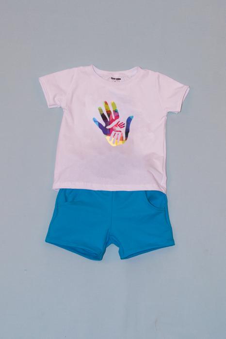 Compleu Tricou Alb cu Pantalon Scurt Albastru Hands 0