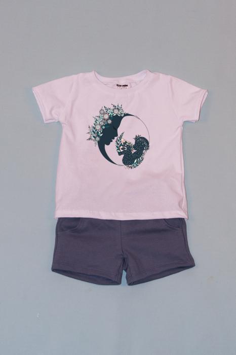 Compleu Tricou Alb cu Pantalon Scurt Gri Moon Flowers 0