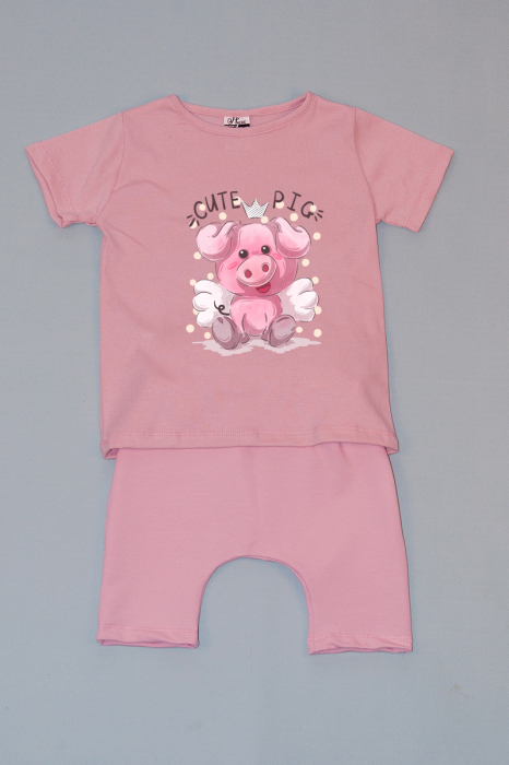 Compleu Tricou cu Pantalon Baggy Roz Cute Pig 0