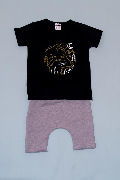 Compleu Tricou cu Pantalon Baggy Gri Wolf 0
