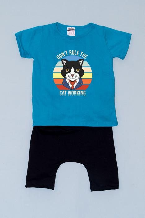 Compleu Tricou cu Pantalon Baggy Negru Business Cat 0