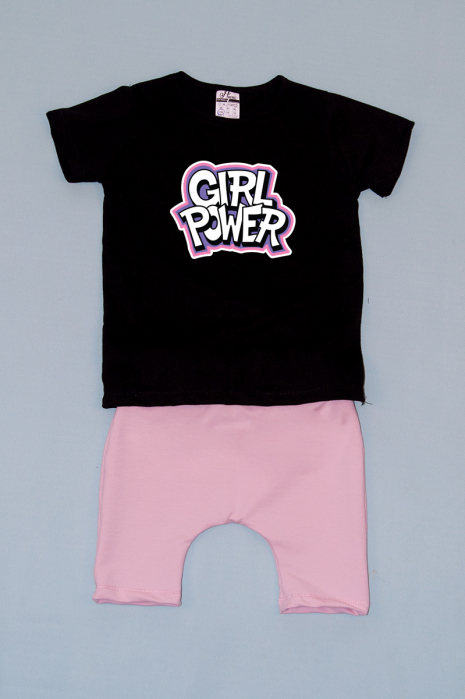 Compleu Tricou cu Pantalon Baggy Roz Girl Power 0