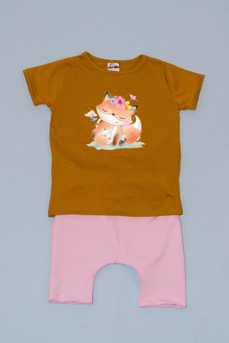 Compleu Tricou cu Pantalon Baggy Negru Pisicute 0