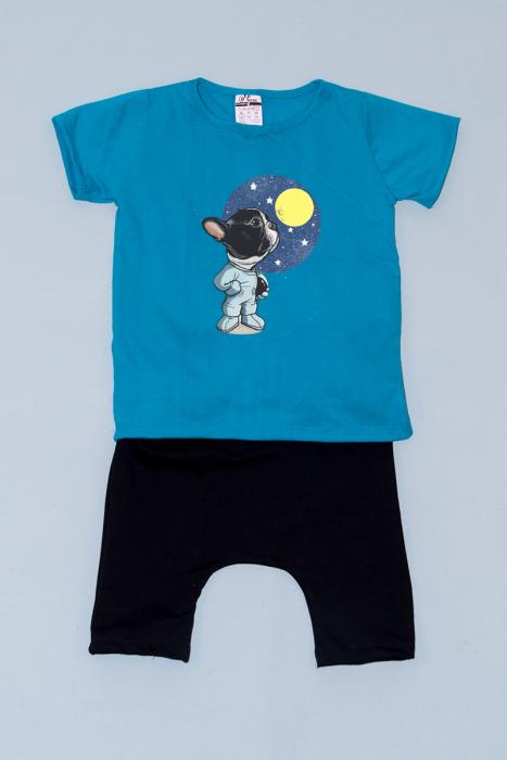 Compleu Tricou cu Pantalon Baggy Negru Moon Dog [0]