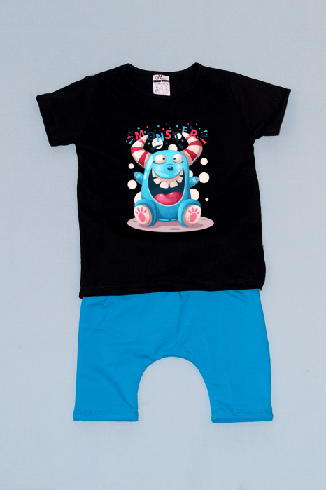 Compleu Tricou cu Pantalon Baggy Albastru Funny Monster 0