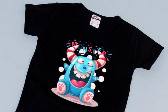 Compleu Tricou cu Pantalon Baggy Albastru Funny Monster 1
