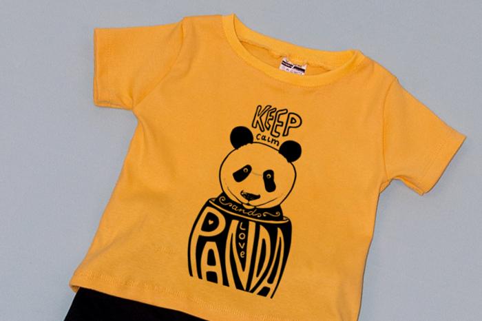 Compleu Tricou cu Pantalon Baggy Negru Panda 1