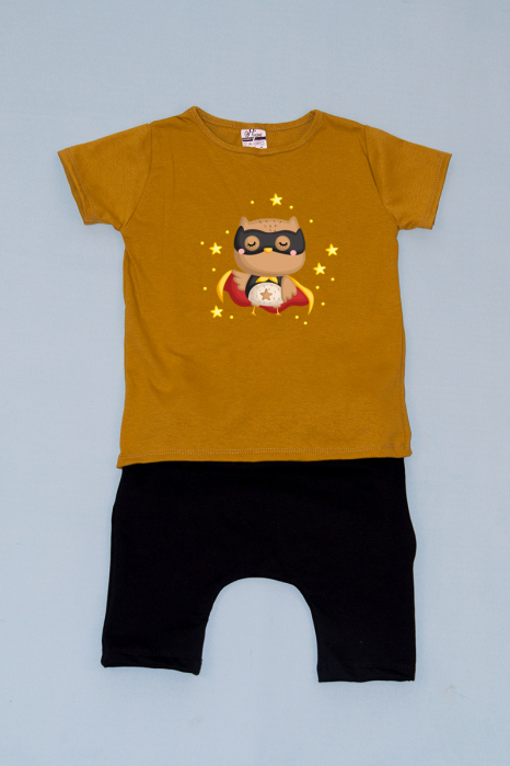 Compleu Tricou cu Pantalon Baggy Negru Bufnita 0