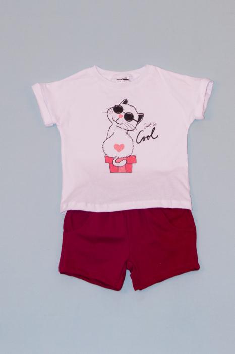 Compleu Tricou Alb cu Pantalon Scurt Rosu Cool 0
