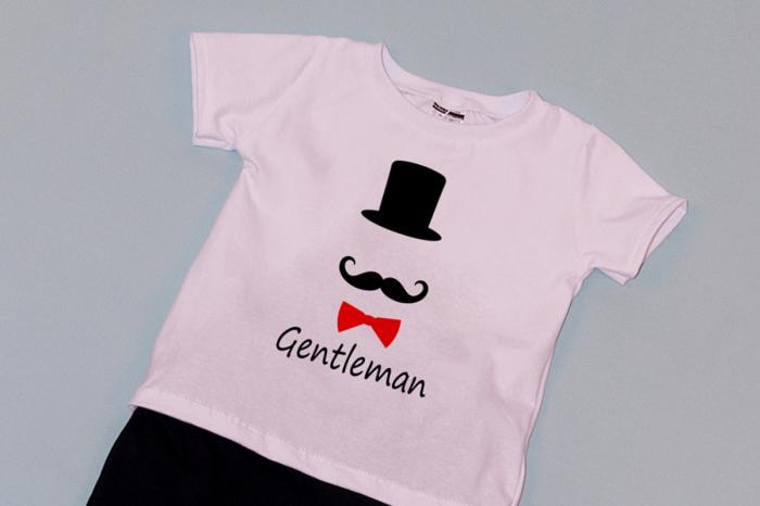 Compleu Tricou Alb cu Pantalon Baggy Negru Gentleman 1
