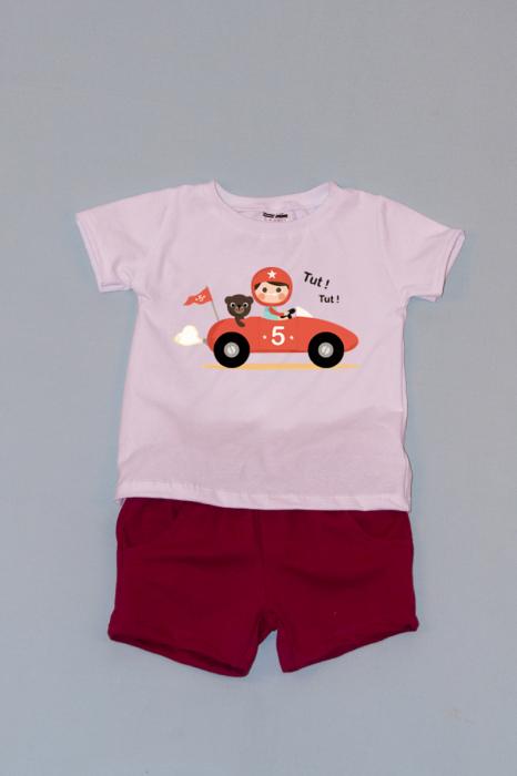 Compleu Tricou Alb cu Pantalon Scurt Rosu Car 0