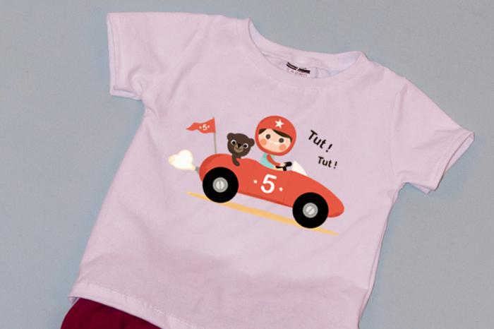 Compleu Tricou Alb cu Pantalon Scurt Rosu Car 1