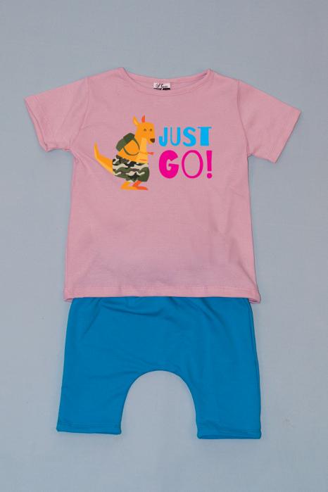 Compleu Tricou Roz cu Pantalon Baggy Albastru Just Go 0
