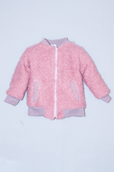 Jacheta lana - Roz Bucle cu interior Gri [0]