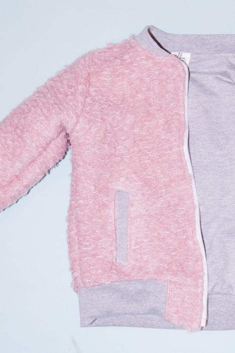 Jacheta lana - Roz Bucle cu interior Gri [1]