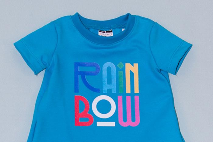 Rochie cocon albastra cu maneca scurta - Rainbow 1