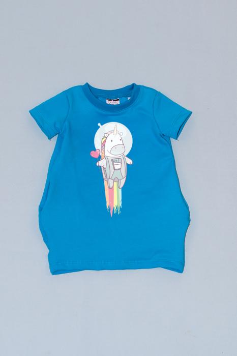 Rochie cocon albastra cu maneca scurta unicorn 0